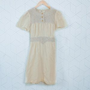 70's Vintage Boho Cotton Floral Detail mini Dress